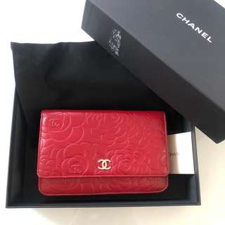 Chanel Wallet on Chain WOC Red Flower