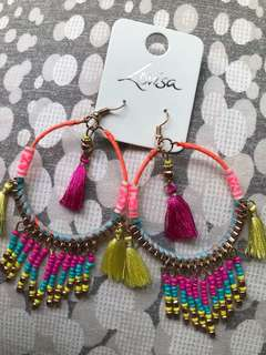 Brand new lovisa tassel beaded hoop bohemian festival earrings light neon