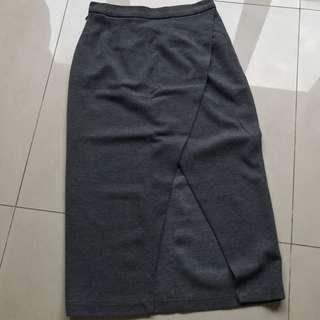 灰色棉質開衩長窄裙