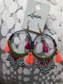Brand new lovisa tassel beaded hoop bohemian festival earrings dark
