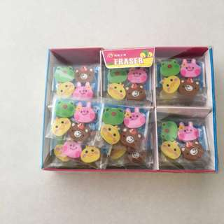 BNIB animal eraser set - party packs (36 sets of 4)