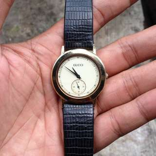 Gucci Men's Watch Gold Plated Sub Second AUTHENTIC Swiss Made
