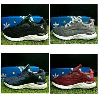 Sepatu adidas pria alphabounce original asli terbaru murah running hitam abu abu