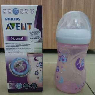 Avent Natural Bottle Special Edition Pink owl/jungle monkey 9oz