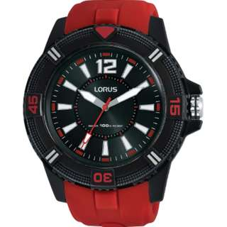 Lorus Sports RRX11FX8 Jam Tangan Pria Cowok Rubber Black Red Original
