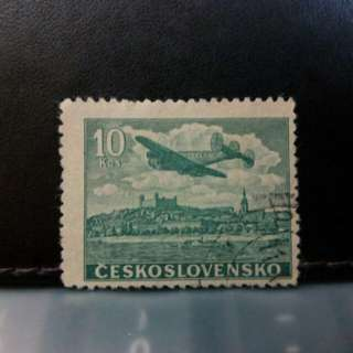 1946 Ceskoslovensko stamp, plane over Bratislava Castle