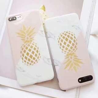 手機殼IPhone6/7/8/plus(沒有X) : 韓風創意大理石菠蘿圖案