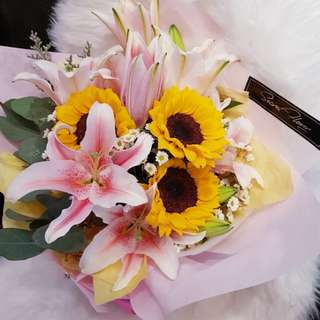 Sunflower with Lily Bouquet