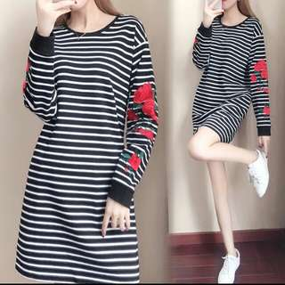 PO : Plus Size Unique Stripes Sew Embroidered Long Sleeved Dress