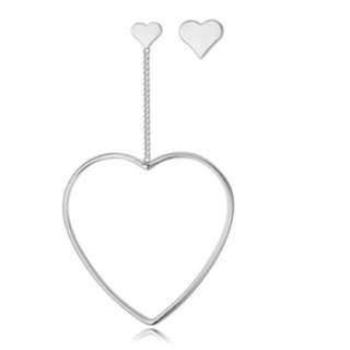 FREE NM // silver heart earrings