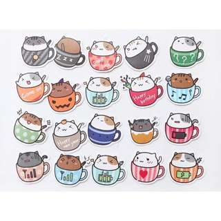 [PO] Cats in cups stickers