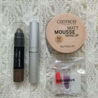Take All ( maybelline pomade eyebrow,  catrice mousse,  wardah matte lipstick,  brunbrun mini lipstick)