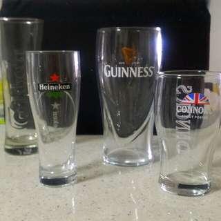 Guinness, Carlsberg, Heineken, Connors collectible glasses