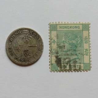 [lapyip1230] 香港套裝 1900年 維多利亞女王 壹毫銀幣 十仙郵票