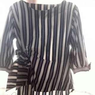 Kimono dongker & white size L