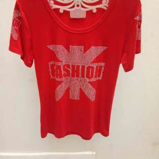 T shirt permata fashion red/white/black