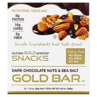 代購空運加州黃金營養零食California Gold Nutrition黑巧克力堅果海鹽黃金棒12條 零嘴 年貨 年節