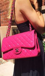 CHANEL Classic Pink Jumbo Double Flap Chain Bag 罕有限量桃粉紅色漆皮手袋 Woc Boy Gst Maxi Vintage Clutch