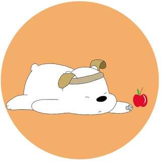 We Bare Bears Ice Bear with apple Popsocket