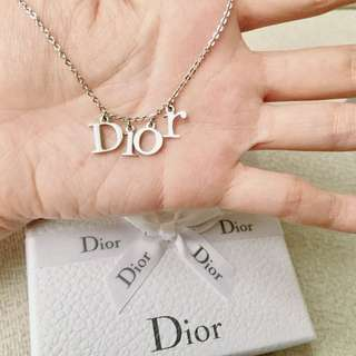 AUTHENTIC DIOR Silver Tone Necklace