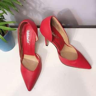 全新紅色超高尖頭鞋高跟鞋12cm