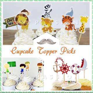 🎂24PCS CUPCAKE TOPPER PICKS Decoration for Baby Shower • Baby Full Month • Baptism • Birthday • Themed Party Event •