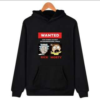 Unisex couple hoodie WANTED RICK MORTY