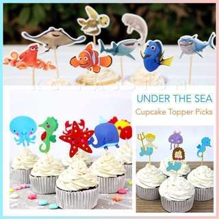 🐬 CUPCAKE TOPPER PICKS SEA CREATURES OCEAN ANIMALS [ Mermaid • Fish • Shark • Seahorse • Octopus • Starfish • Whale • Crab ] Decoration for Baby Shower • Baby Full Month • Baptism • Birthday • Under The Sea • Nemo n' Dory Themed Party Event •