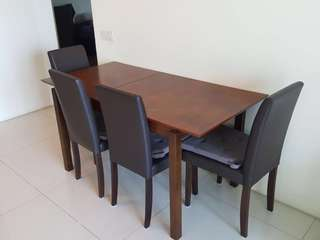 Dining set with 4 chair with foldable table