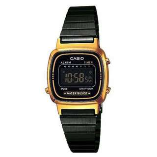 Casio Vintage LA670WEGB-1B Black Plated StainlessSteel Watch - COD FREE SHIPPING