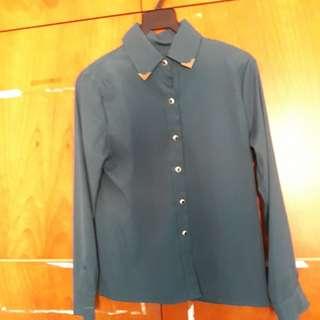 Green long sleeve gold tipped collar shirt