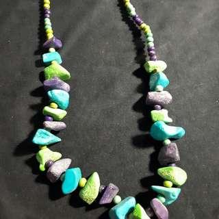 Kalung batu biru hijau