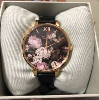 Olivia Burton 38mm Floral Leather watch in Black