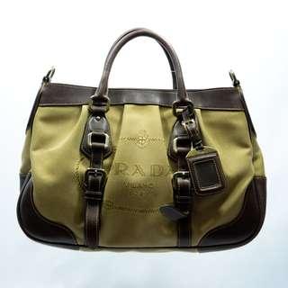 Prada Brown Logo Jacquard Canvas Leather Trim Buckled Satchel Bag