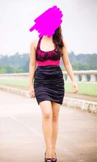 Pink and Black Halter Dress