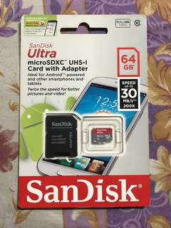 Sandisk 64gb micro sd card 30mbs