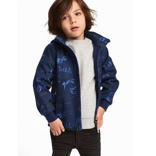 H&M softshell jacket dinosaur blue boy