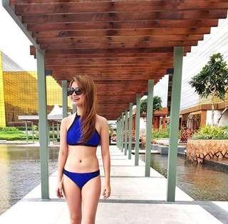 Blue Halter Two Piece Swimsuit