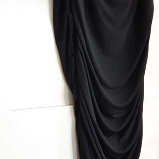 Drape Ruched Skirt (Black)