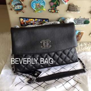 jual tas Chanel Flap Front LEATHER MIRROR - black