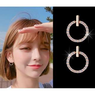 New Korea K-pop Style Star Pick High Quality 3A Class Zircon with S925 Silver Hypoallergenic -  Earrings -  Rose Gold Color