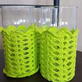 Handmade crocheted glass holder