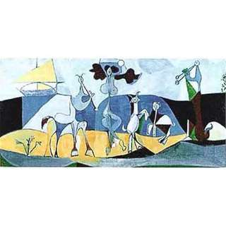 """Pablo Picasso """"Animals Playing Musical"""" Long Painting"""