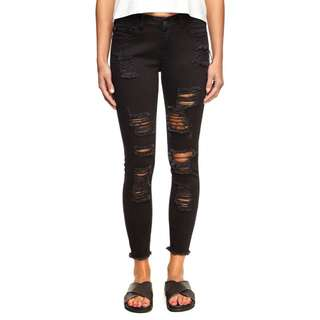 Cotton on black Ripped skinny 7/8 jean
