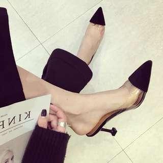 時尚透明拼接尖頭穆勒鞋