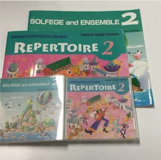 Yamaha Junior Extension Course (JXC) level 2 Solfege and Ensemble & Repertoire CDs and Books