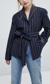 Wrap front blazer shirt in pin stripe