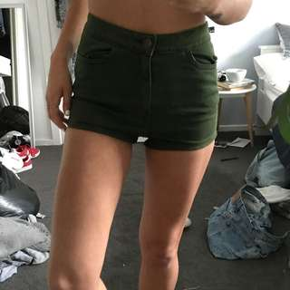 TOPSHOP forest green booty denim shorts