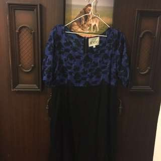 Blue & Black Boho Style Shift Dress Fits Up to Size L