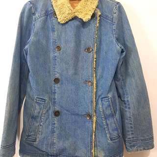 Jaket fur bulu winter hangat bahan denim fit M